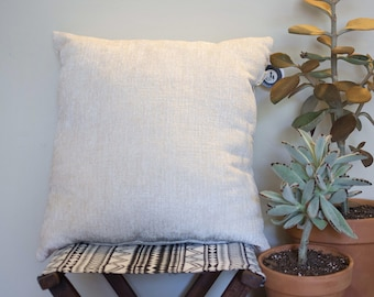 Ivory Chenille Throw Pillow
