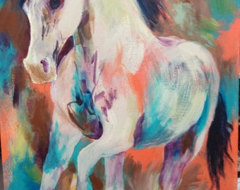 """Beautiful Abstract Horse """"Running Free"""""""