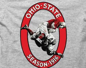 Vintage Ohio State Football Season 1916 - Gray Tshirt FREE SHIPPING