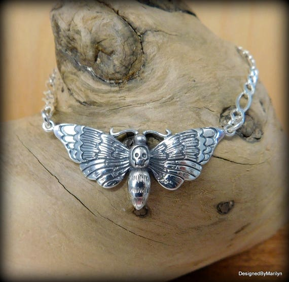 Sterling Silver necklace, Deaths Head Moth necklace - Halloween jewelry, steampunk jewelry, Goth necklace.