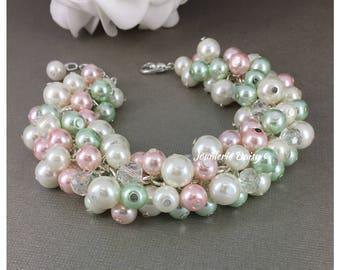Mint Green Pink and Ivory Bracelet Mint Green Bracelet Bridesmaid Gift Pink Bracelet Mint Wedding Maid of Honor Gift for Her Wedding Jewelry