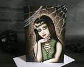 Greeting Card - Gothic Adreana Jette Blank Inside Goth Birthday Spider Web Black Horror Dark Spooky Creepy Green Red