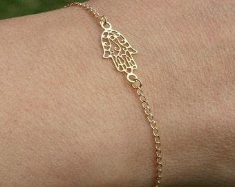 Hamsa bracelet, sideway hamsa, gold bracelet, gold hamsa, hamsa jewelry, delicate bracelet, luck jewelry, anklet , gold filled bracelet, 113