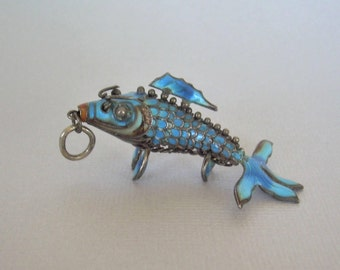 JAPANESE KOI Fish Pendant-Big Antique Vintage Sterling Silver Rich Blue Enamel-Cloisonne Articulated-Collectible Chinese Asia Asian-01021