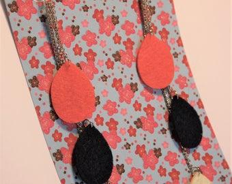 Collection Pop-long earrings (orange/Blue Navy/white)