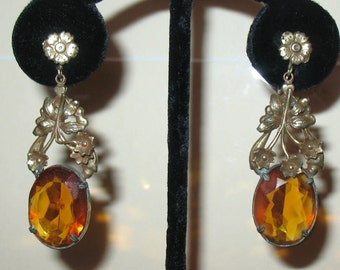 1920s Art Deco Earrings and Necklace Set, Nouveau Necklace Set, 1930s Czech Necklace and Earrings, Antique Jewelry, Czech Glass Necklace