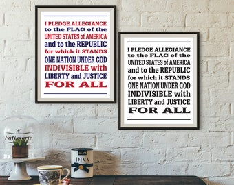 Pledge of Allegiance, 4th July Decor, Patriotic Printable, Patriotic print, Digital Download, Patriotic Decoration, Red White & Blue, USA