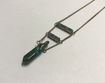 Iridescent Beaded Crystal Necklace