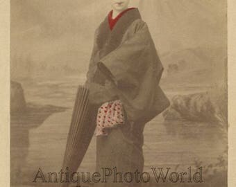 Japan young woman with umbrella antique hand tinted albumen photo