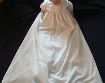 Baby Girl Cotton Eyelet Christening Gown Baptism Dress 0-3 3-6 6-12 M
