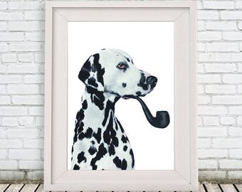 Dalmatian Print, dalmatian Illustration Art Poster Acrylic Painting Kids Decor, black and white, dog Gift, dalmatian with pipe
