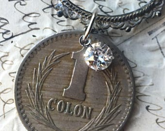 Vintage coin necklace, coin pendant, coin jewelry necklace, upcycled jewelry, number 1