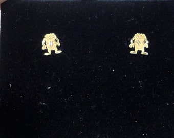 Warner Brothers 14 KT Yellow Gold Tazmanian Devil Earrings Vintage Pierced Post Collectible