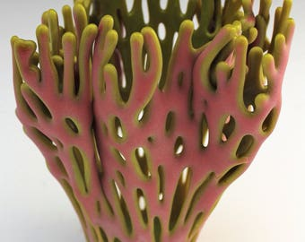 Salmon Pink and Green Coral Fused Glass Vase