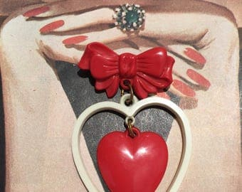 Vintage Celluloid Bow and Heart Valentines Novelty Brooch -- So Sweet!