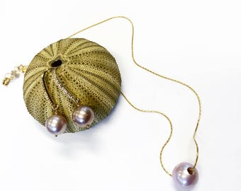 Lavender edison pearl necklace with matching earrings