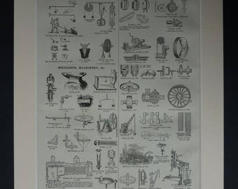 1880s Victorian Matted Industrial Picture of Machinery