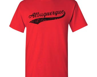Albuquerque City Script T-Shirt - Red