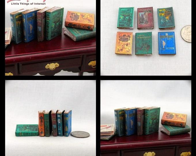 GREAT EXPLORERS 6 Miniature Dollhouse Books 1:12 Scale Faux Prop Fill Bookshelf Travel World Traveling Library Books
