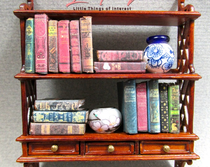 OOAK Filled WALNUT BOOKSHELF Miniature Dollhouse 1:12 Scale Books #3 Accessories Prop Books Drawers Vase