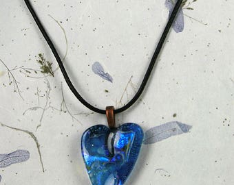 Medium glass heart. Unique fused glass pendant. One of a kind.