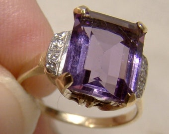 10K Yellow Gold Amethyst Ring 1930 1940 - Size 5-1/2