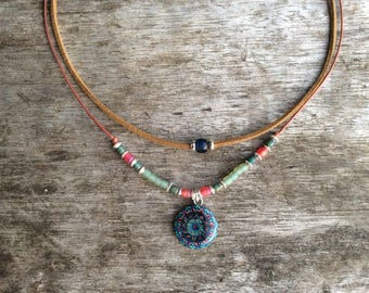 Boho necklace for women, Modern jewellery, Mandala charm necklace, Bohemian necklace women, Blue tribal necklace, Boho jewelry for women,
