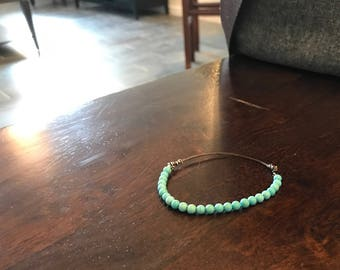 Turquoise and Leather Stretch Bracelet