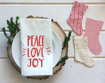Peace Love Joy Christmas Linen Napkins Christmas decor Holiday dining Neutral linen napkin white beige napkin winter decor hostess gift