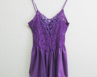 Purple Babydoll Lace Nightgown Small - Short and Sexy