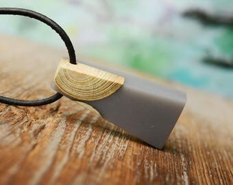 wood necklace, resin pendant, resin wood jewelry, cool gift, reclaimed wood jewelry, Gift for Him