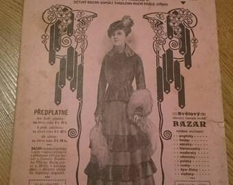 Vintage Bazar Fashion Magazine 1916. Edwardian, Scrapbooking, Ephemera, Art, Decoupage. (No. 9)