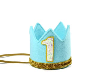 First Birthday Boy || Boy Birthday Crown || Boy Birthday Outfit ||Boy Party Hat || Little Blue Olive || Aqua + Gold + White