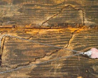 Raw Rose Quartz Healing Crystal Pendant Necklace