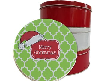 Cookie Tin Personalised  - Custom Chrismtas Biscuit Containers - Round Holiday Christmas Tin - Christmas Cookie Tin with Santa Hat & Name