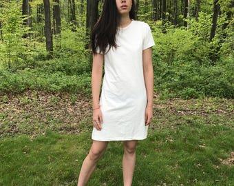 Creme Minimalist Tshirt Mini Dress
