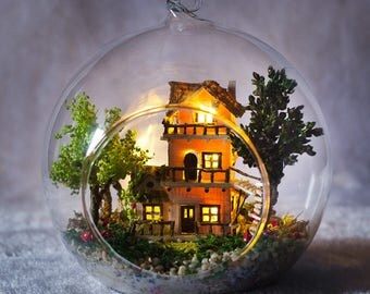 Forest house Glass Ball with Lights* tress house miniature project * DIY Handcraft Miniature Project Kit * dolls house
