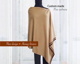 Pure cashmere stripe poncho / Cashmere poncho / Stripe poncho / Women poncho / Poncho / Pure cashmere / Mix and match color
