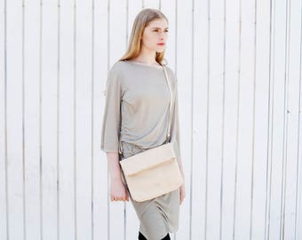 Fold Over Leather Clutch, Bright Leather Bag, Women Beige Purse, Small Leather Bag, Cross Body Purse - Camden