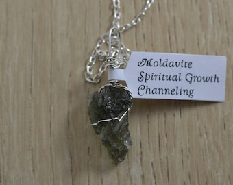 Moldavite Silver Wire Wrapped Healing Heart Throat, Crown Chakra Crystal Pendant