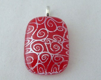 Red & Silver Dichroic Fused Glass Pendant, Fused Glass, Fused Glass Pendant, Glass Pendant, Dichroic Pendant, Dichroic, Red Pendant, Red