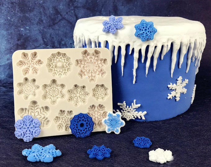 Snowflake Silicone Mat Mold - M1195 - Baking Fondant Soap Chocolate Candy Jelly Winter Holiday Snow Snowflakes