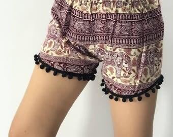 PP0028 Pom pom Shorts Elephant Print Beach Summer Hippies Boho Fashion Chic Clothing Bohemian Boxers Short Pants Unique