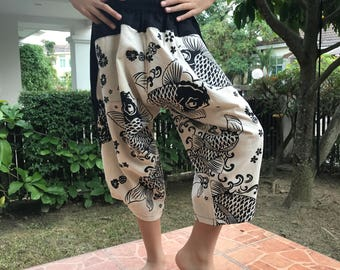 KD0103 Samurai Pants Black and White pants Handmade pants, Thick Smock Waist Low Crotch, elastic waistband  - Fits all !
