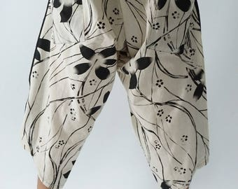 HC0405 Samurai Pants  - elastic waistband and cuffs - Fits all!  Unisex pants