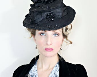 Antique Hat / Edwardian Hat / Vintage 1910s Hat / Sequins / Flowers / Silk Ruffles / Tulle