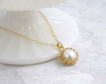June Birthday ~ Solitaire Pearl Necklace ~ Gold ~ White Pearl Necklace ~ Crown Bezel ~ Gift for Her ~ Bridesmaid Gift ~ Simple Modern
