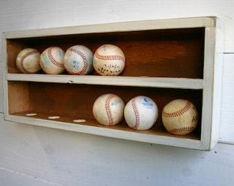 Baseball Wall Organizer Rack Holder Ball Case Storage Wood