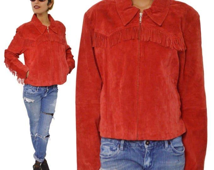 Vintage 80 Jou Jou Skins Red Fringe Jacket