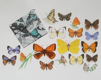 Botanical Butterfly Ephemera - 18 Die Cuts - Handmade Die Cuts - Botanics - Handmade Butterfly Envelope